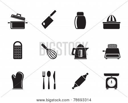 Silhouette Kitchen and household Utensil Icons