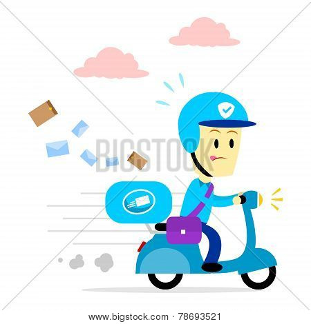 Postman Delivering Mail By Motorcycle