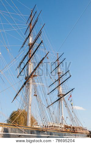 Masts Of The Tea Clipper Cutty Sark In London