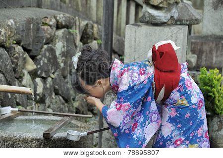 A Geisha Drinking