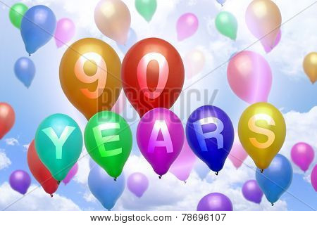 90 Years Happy Birthday Balloon Colorful Balloons