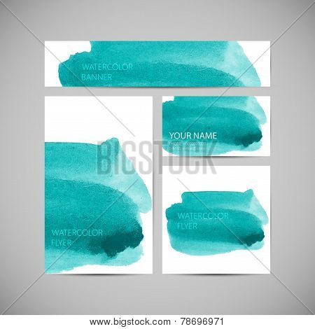 set of vector visual corporate identity with paint watercolor st