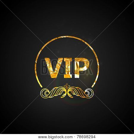 golden VIP card.vector black ornate background with golden wrink