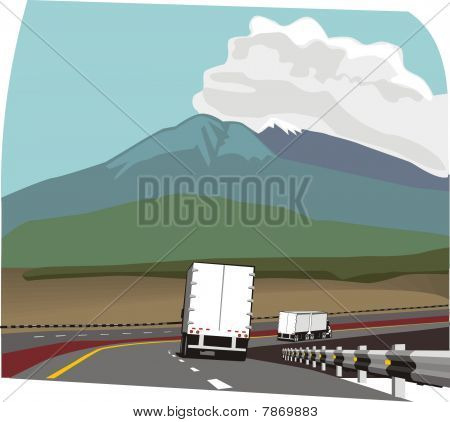 dos camiones en la carretera