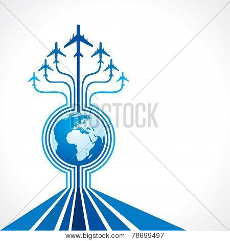 Abstract background with airplane and earth stock vector
