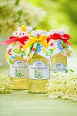 stock photo of elderflower  - Bottles with elderflower syrup in the garden - JPG