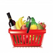 stock photo of grocery cart  - Plastic shopping basket with variety of grocery products isolated on white - JPG