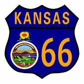 picture of kansas  - Route 66 traffic sign over a white background and the state name Kansas with flag - JPG
