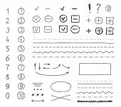 stock photo of summary  - Set of hand drawing elements for mark - JPG