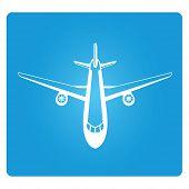 picture of aeroplane symbol  - plane symbol in blue square button - JPG