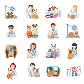 picture of bag-of-dog-food  - Veterinary pet medical kit vet doctor icon flat set isolated vector illustration - JPG