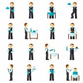 picture of waiter  - Waiter man with restaurant employee avatar icon flat set isolated vector illustration - JPG
