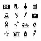 stock photo of enema  - Medical equipment icon black set with heart rate pill enema isolated vector illustration - JPG