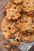 picture of baked raisin cookies  - Homemade oatmeal cookies with seeds - JPG
