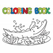 stock photo of alligator baby  - Coloring book or coloring picture of little funny alligator or crocodile swims in the lake - JPG