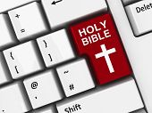image of holy-bible  - Holy Bible key with cross of Christ on the computer keyboard three - JPG
