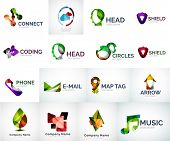 Abstract company logo vector collection - 16 modern various business corporate logotypes poster