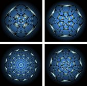 stock photo of heptagon  - Set of four abstract shapes on a black and blue background - JPG