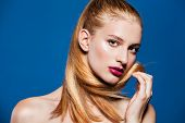 stock photo of ponytail  - Beauty portrait of beautiful woman with ponytail - JPG