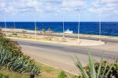picture of malecon  - View of the blue ocean Malecon waterfront Cuba - JPG