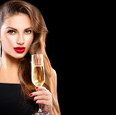 pic of champagne glass  - Sexy model girl with glass of champagne at party - JPG