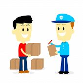 image of postman  - Postman asking for signature to a man after delivering 3 parcels to him   - JPG