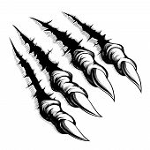 pic of tears  - Black and white illustration of monster claws breaking through ripping tearing and scratching the wall - JPG