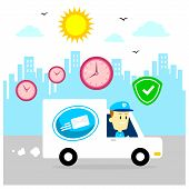 stock photo of postman  - Postman Driving Mail Van to Help Deliver Packages - JPG