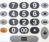 stock photo of keypad  - calculator numeric white and black keypad close up - JPG
