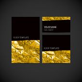 pic of greeting card design  - set of vector visual corporate identity with golden wrinkled foil texture - JPG