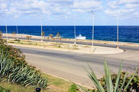 image of malecon  - View of the blue ocean Malecon waterfront Cuba - JPG