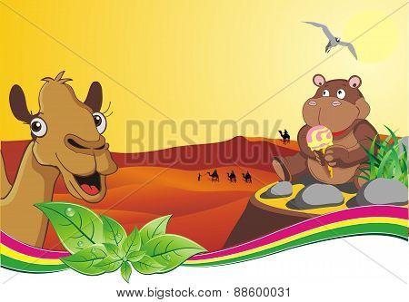 Hippo With Ice Cream In The Desert
