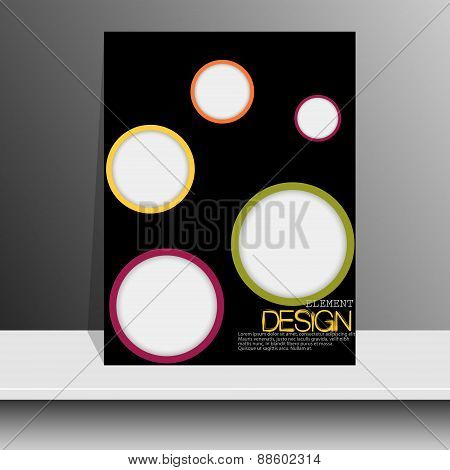 Magazine cover with pieces of colored Paper.For Leaflets, Books, Brochures, Flyers, Posters, Booklet