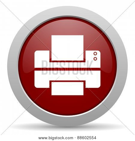 printer red glossy web icon