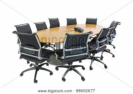 Meeting Table And Black Hairs In Meeting Room