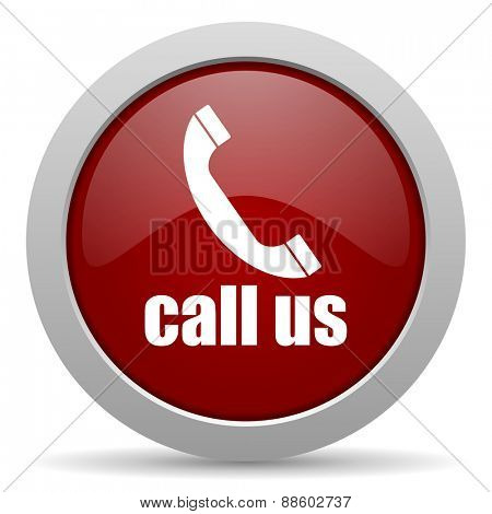 call us red glossy web icon