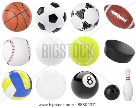 Set of sports balls, soccer, basketball, bowling, rugby, tennis, volleyball, hockey, baseball, billi