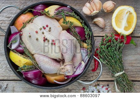 Fresh raw chicken for cooking with vegetables