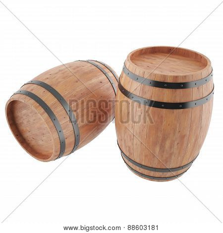 Two wine, whiskey, beer, rum barrels isolated on white background.