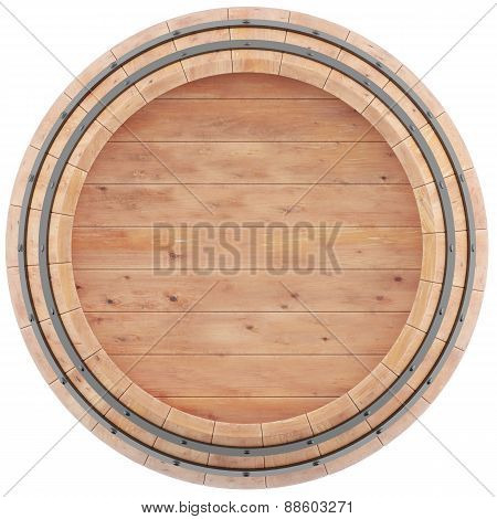 Wine, beer, whiskey, barrel top view of isolation on a white background.