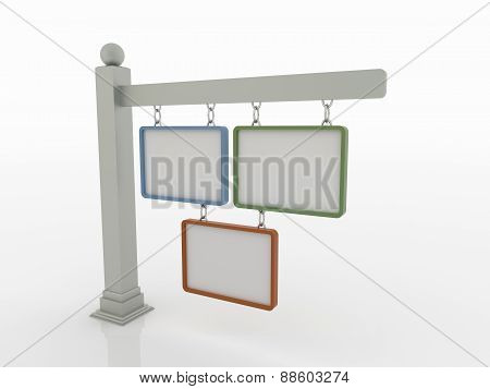 Three Signboards On Post With Chains On White Background