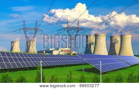 Solar energy panels before a nuclear power plant Dukovany