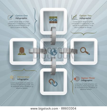 Five Linked Squares Infographic Background