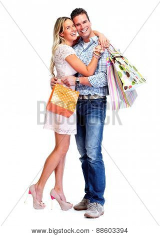 Happy couple with shopping bags isolated white background.