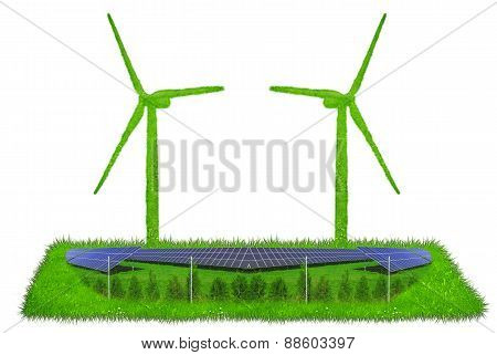 Wind turbines  made out of grass with solar panels