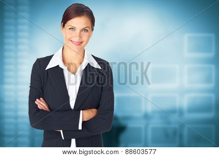 Young Business woman over office background