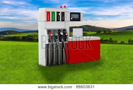 Gas pump nozzles over a nature background