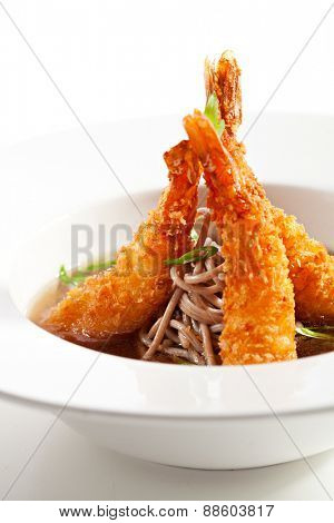 Japanese Cuisine - Soup with Deep Fried Shrimps and Noodles