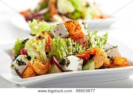 Salad with Seafood, Feta Cheese and Vegetables