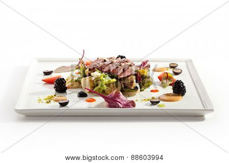 Duck Magret with Vegetables, Fruits and Berries
